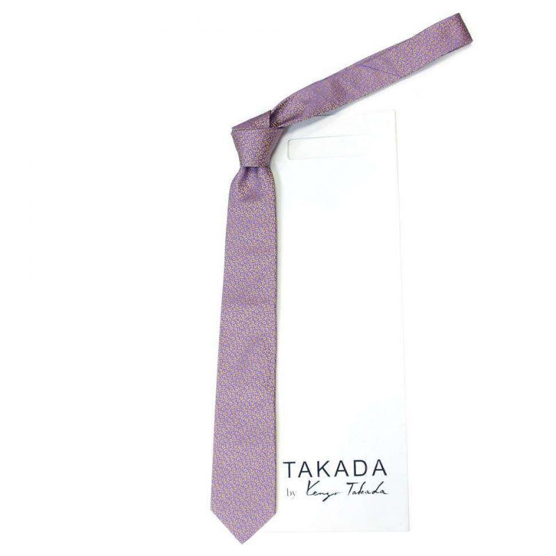 Сиреневый галстук Kenzo Takada с леопардовым рисунком