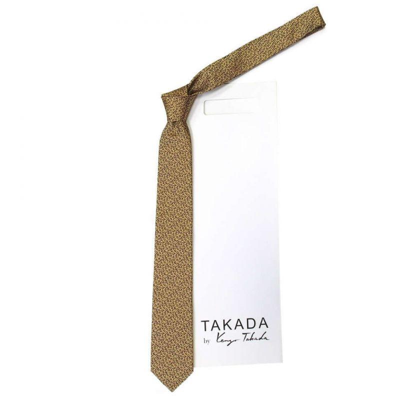 Золотистый галстук Kenzo Takada с леопардовым рисунком