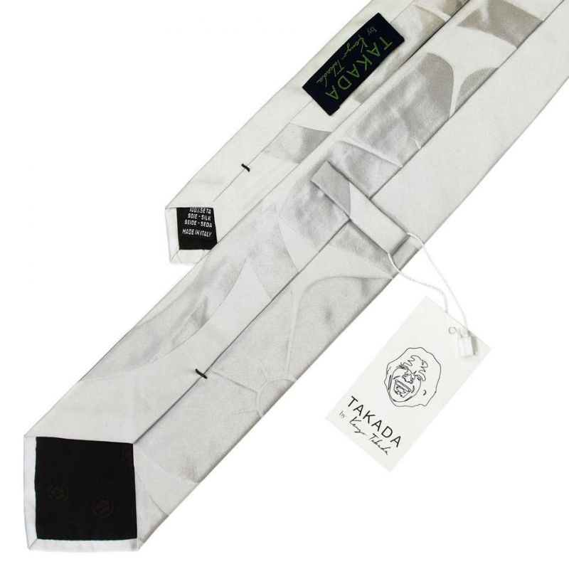 Серебристый галстук Kenzo Takada с большим цветком