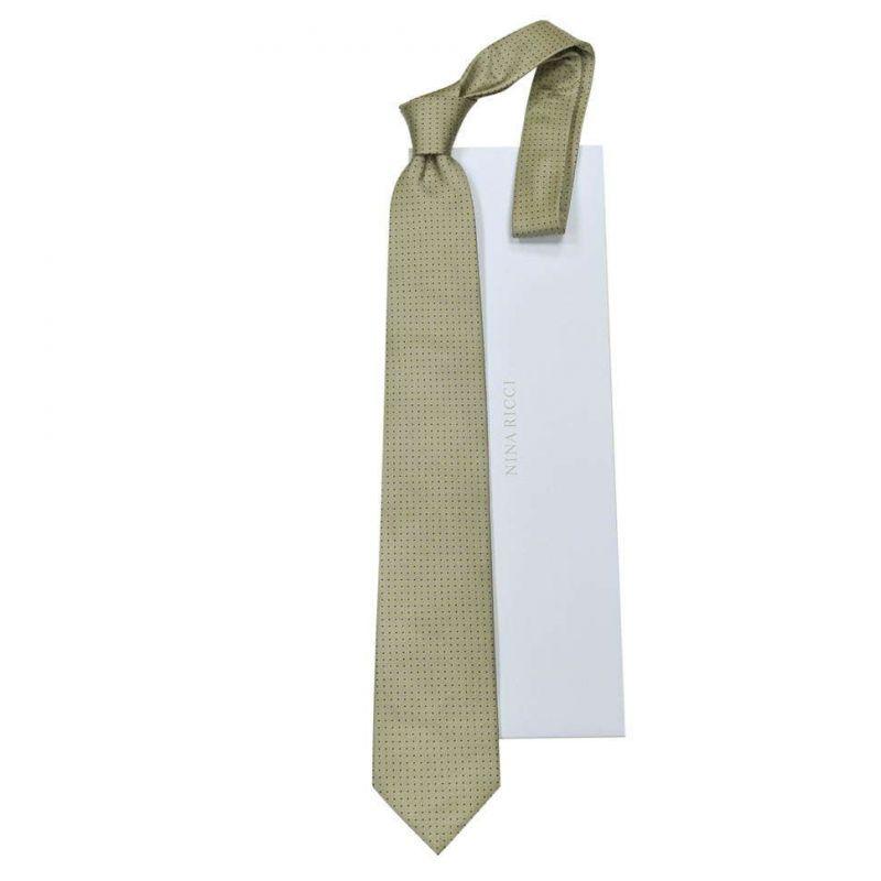 Бежевый галстук Nina Ricci в горошек
