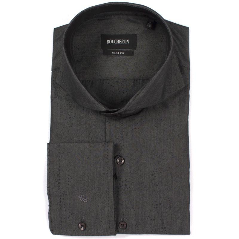 Рубашка чёрная однотонная с рисунком приталенная