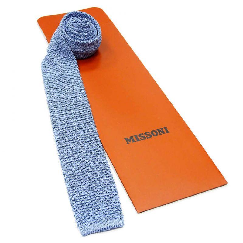 Вязаный галстук Missoni бледно-голубого цвета
