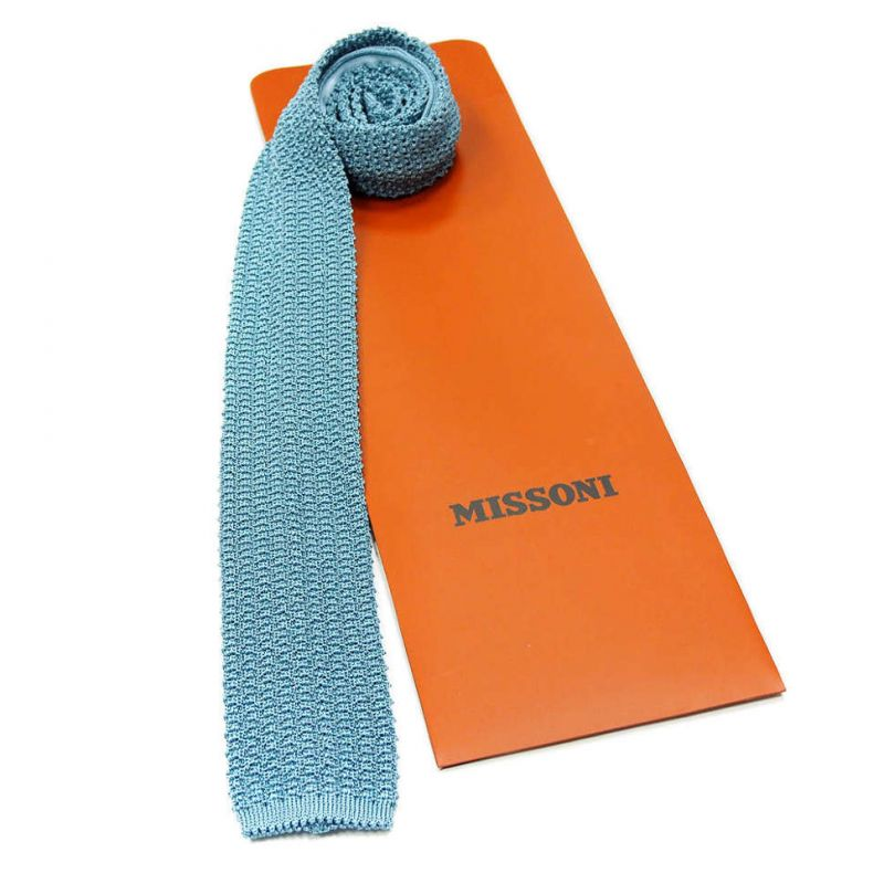 Вязаный галстук Missoni бирюзового цвета