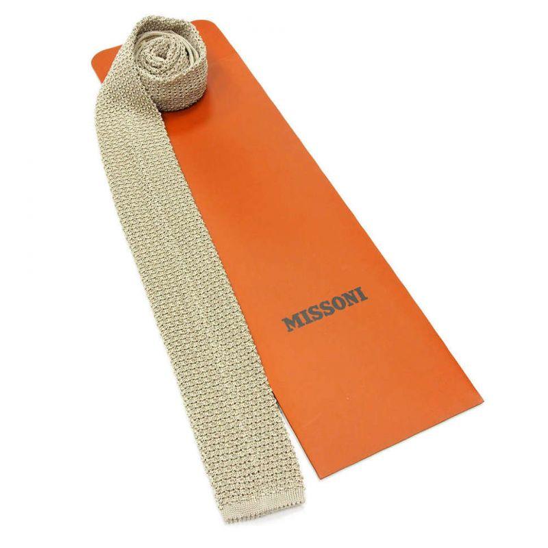 Вязаный галстук Missoni бежевого цвета