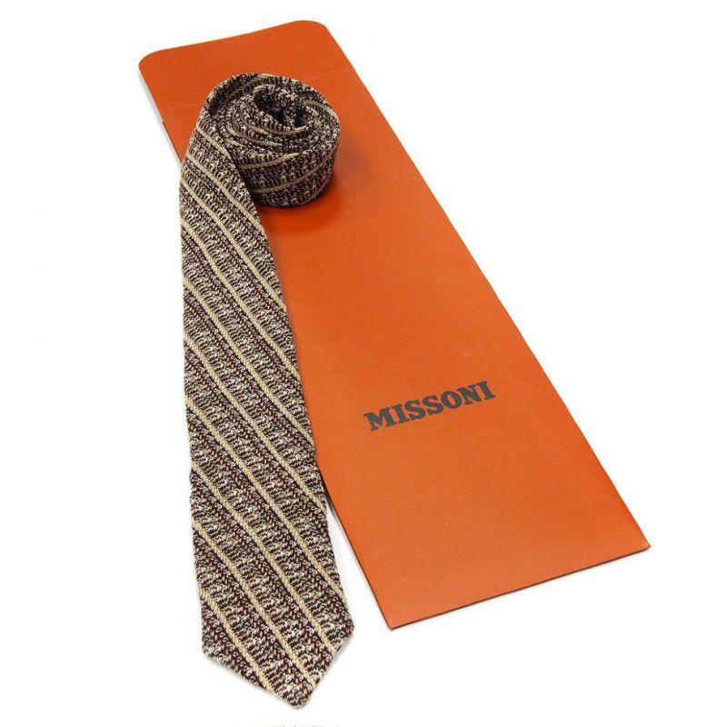 Вязаный галстук Missoni в коричневой гамме