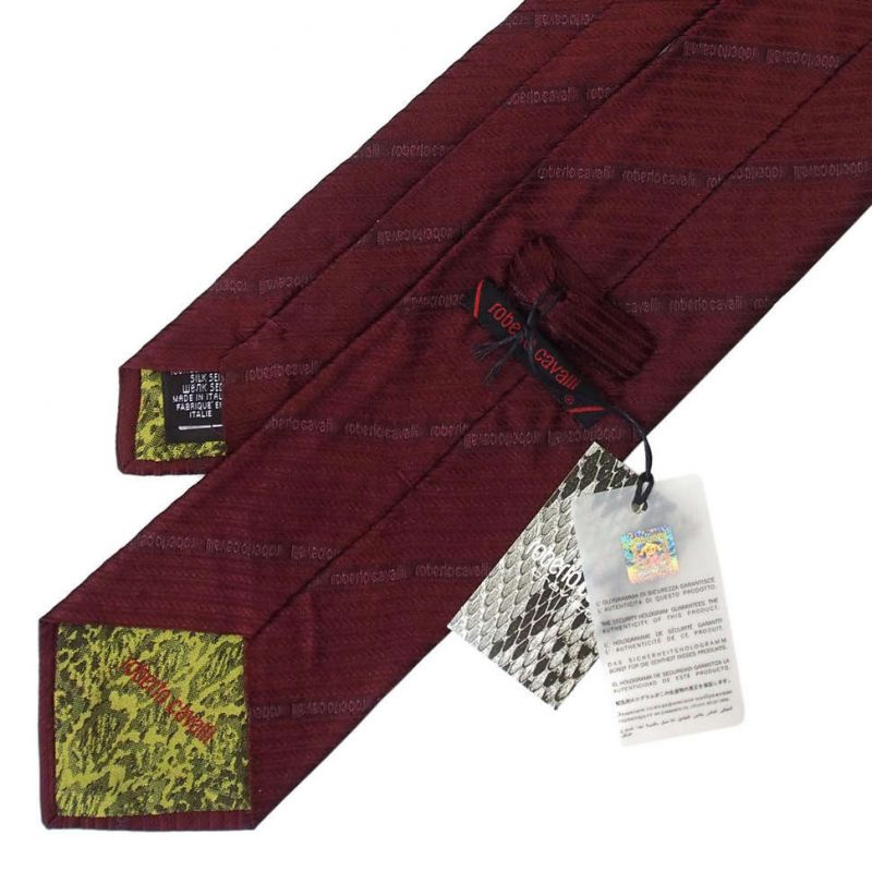 Тёмно-бордовый галстук Roberto Cavalli в полоску