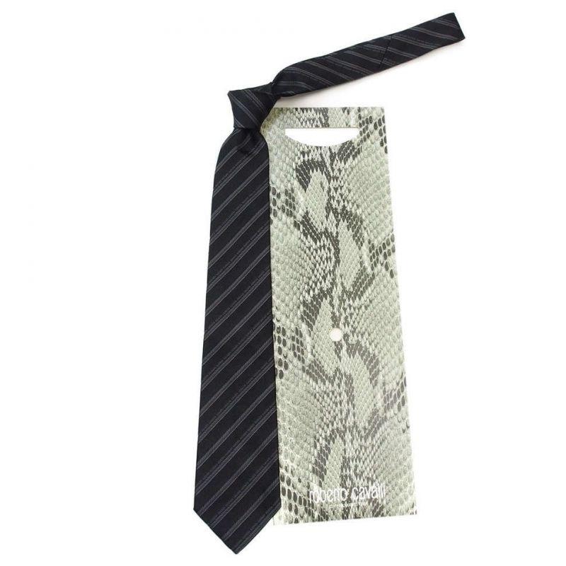 Чёрный галстук Roberto Cavalli в серую полоску