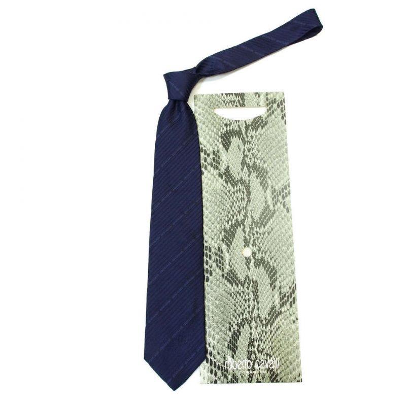 Синий галстук Roberto Cavalli с диагональными полосками