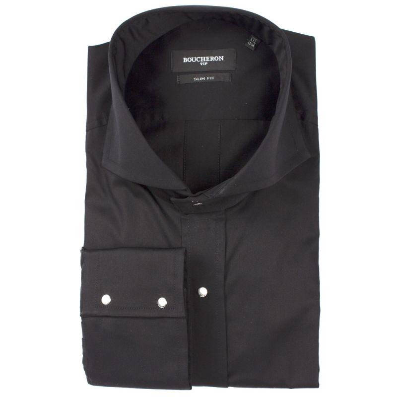 Рубашка чёрная однотонная на клёпках приталенная