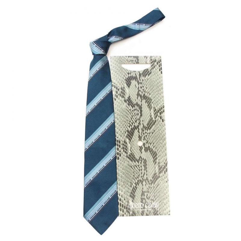 Тёмно-бирюзовый галстук Roberto Cavalli с диагональными полосками