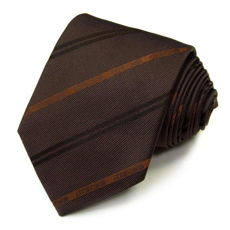 Коричневый галстук Roberto Cavalli в полоску