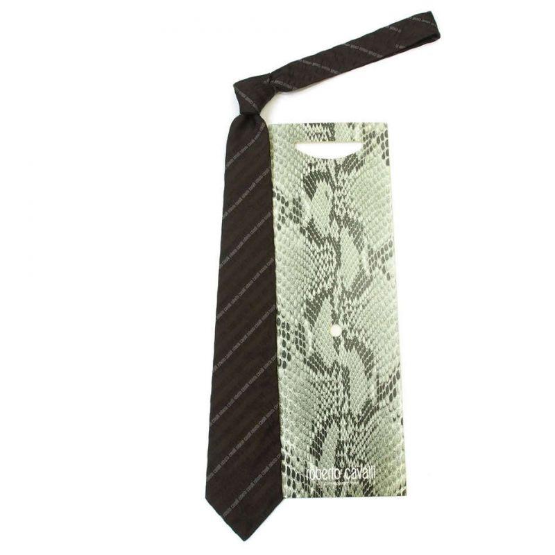 Коричневый галстук с логотипами Roberto Cavalli