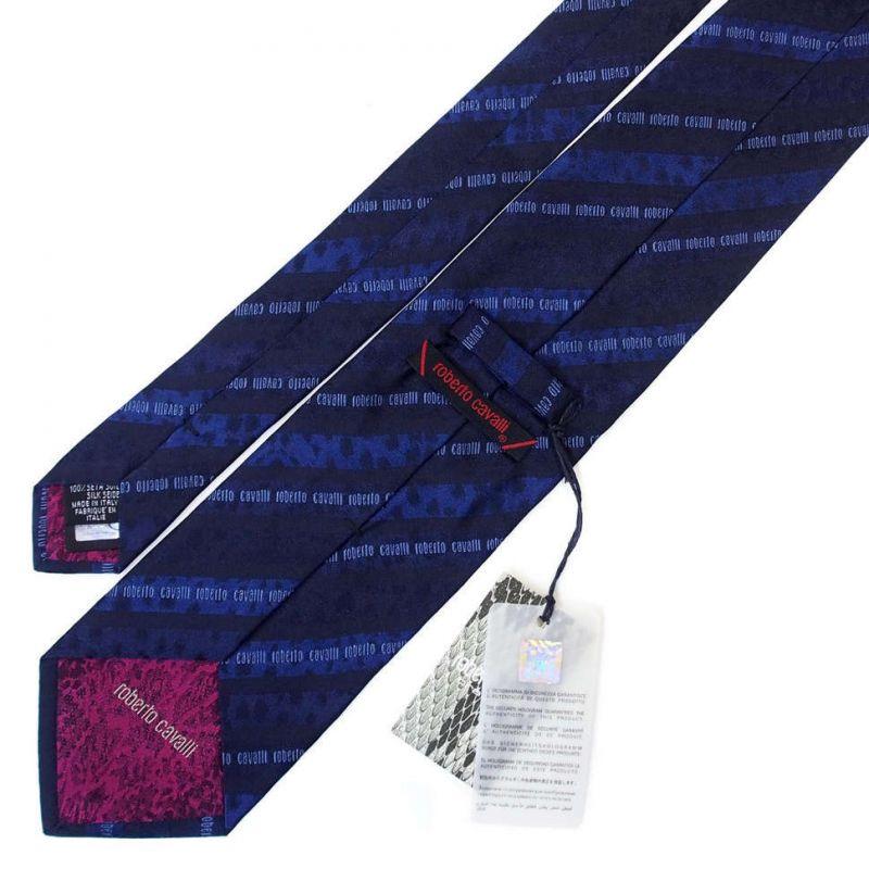 Синий галстук с надписями Roberto Cavalli