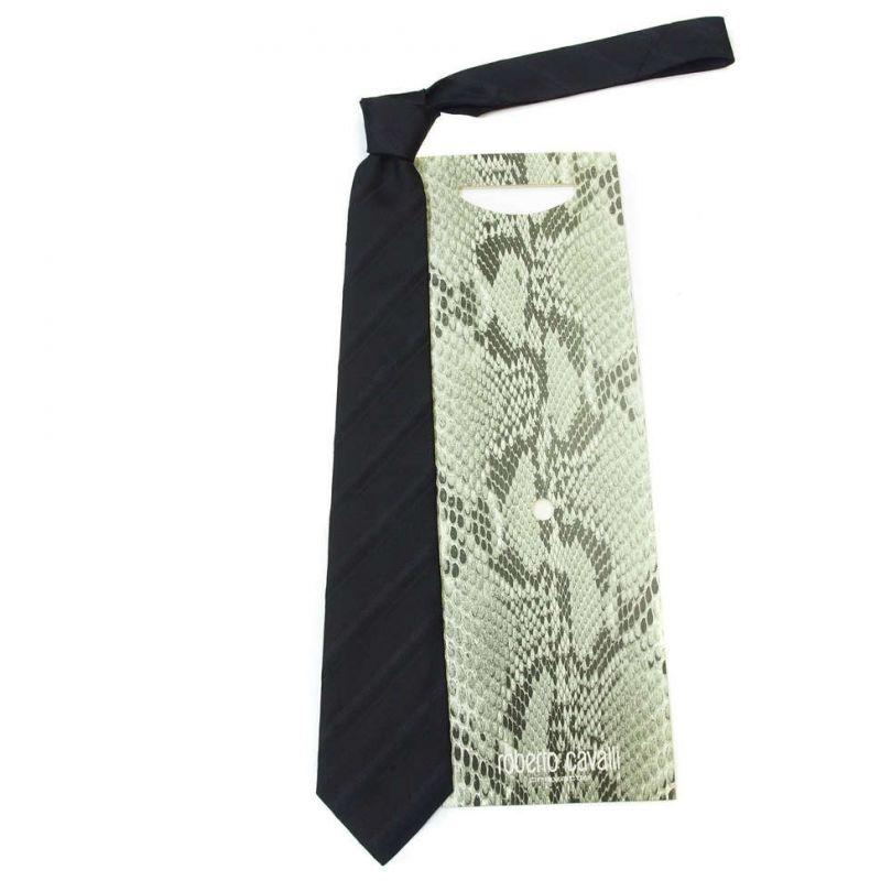 Чёрный галстук Roberto Cavalli в полоску