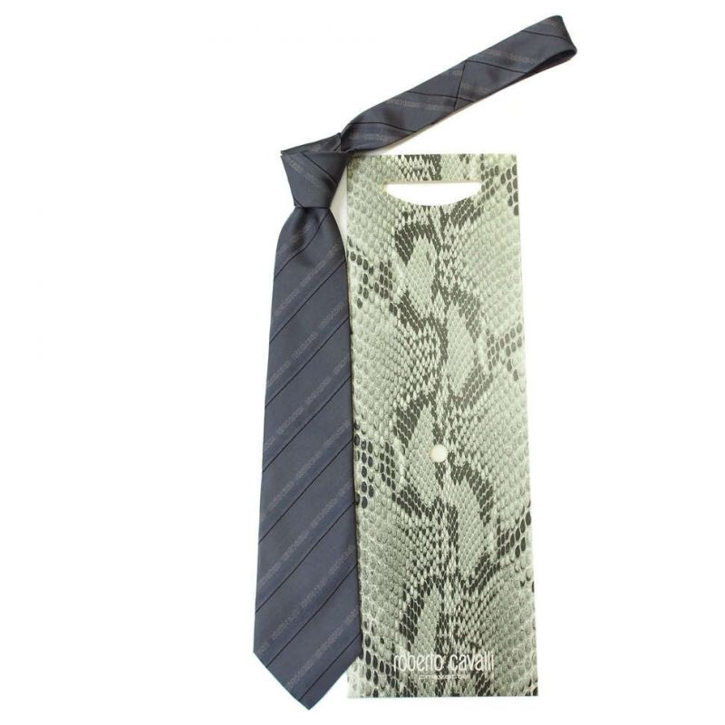 Серый галстук с надписями Roberto Cavalli