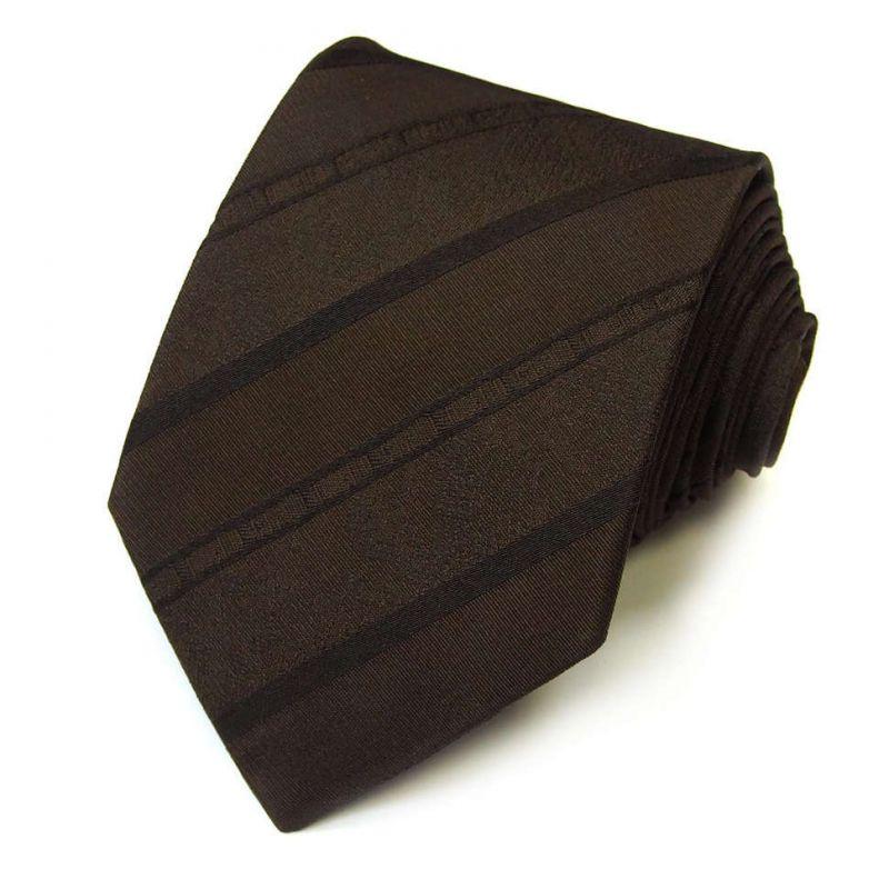 Коричневый галстук Roberto Cavalli в тонкую полоску