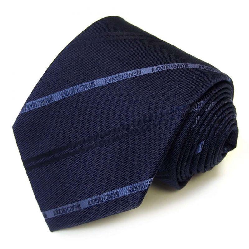 Синий галстук Roberto Cavalli с тонкими полосками