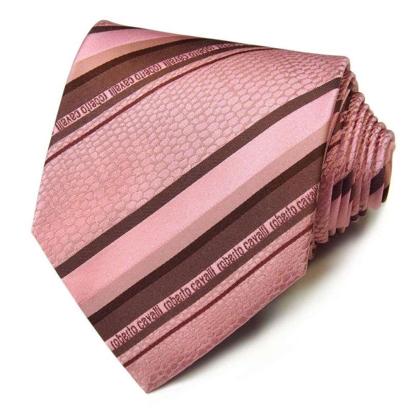 Розовый галстук Roberto Cavalli в полоску