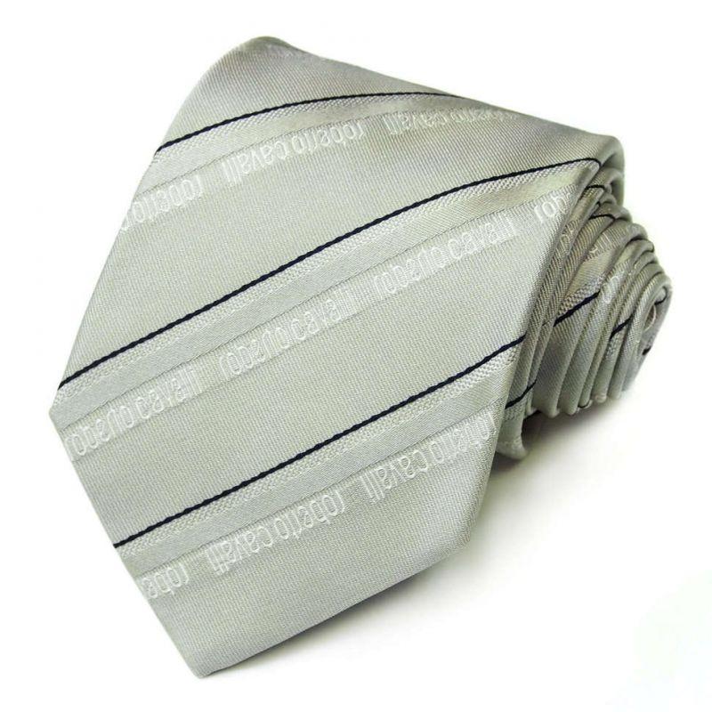 Серый галстук Roberto Cavalli с тонкими линиями