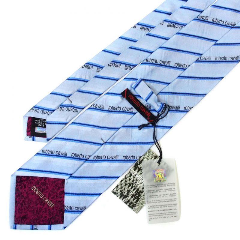 Голубой галстук Roberto Cavalli в полоску