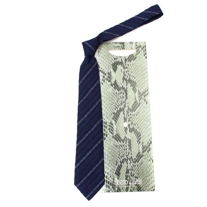 Тёмно-синий галстук Roberto Cavalli с лентами
