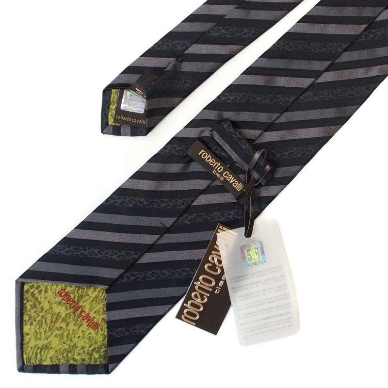 Тёмно-серый галстук Roberto Cavalli в полоску