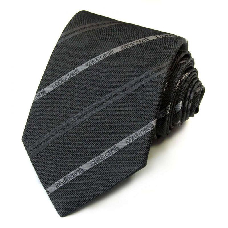 Костюмный серый галстук Roberto Cavalli в полоску