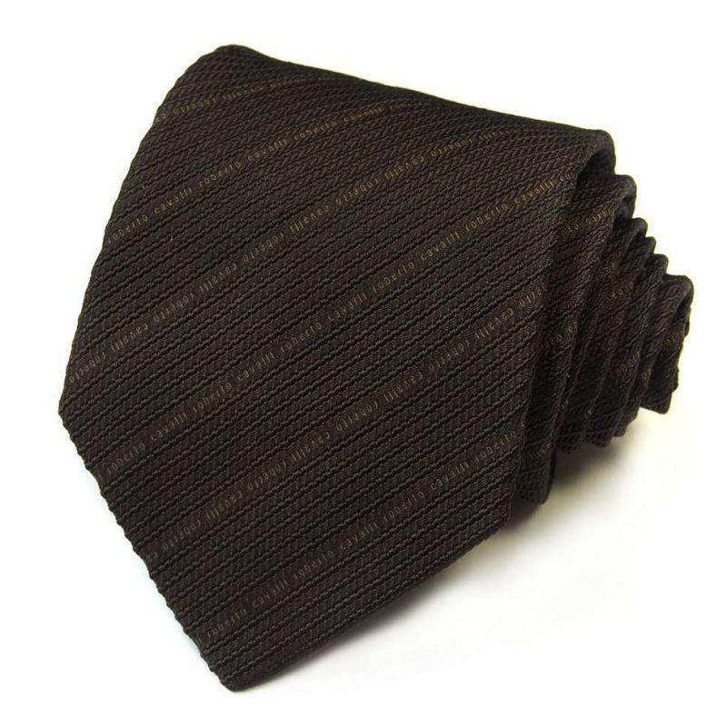 Коричневый галстук Roberto Cavalli в мелкую полоску