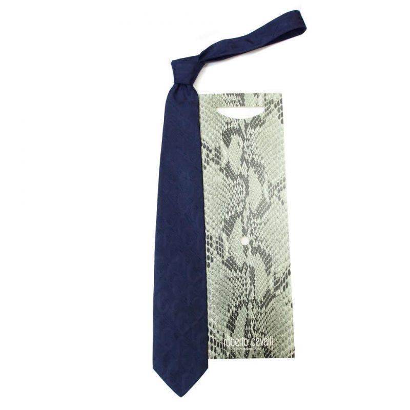 Синий галстук Roberto Cavalli с фактурой