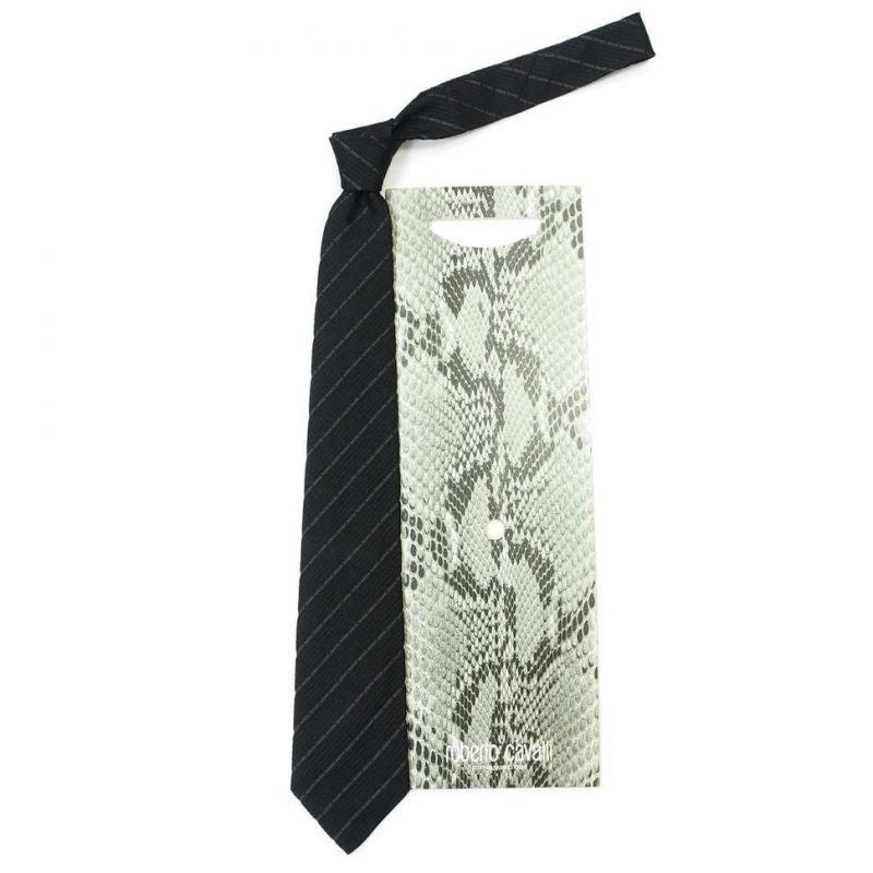 Чёрный галстук Roberto Cavalli фактурная выделка