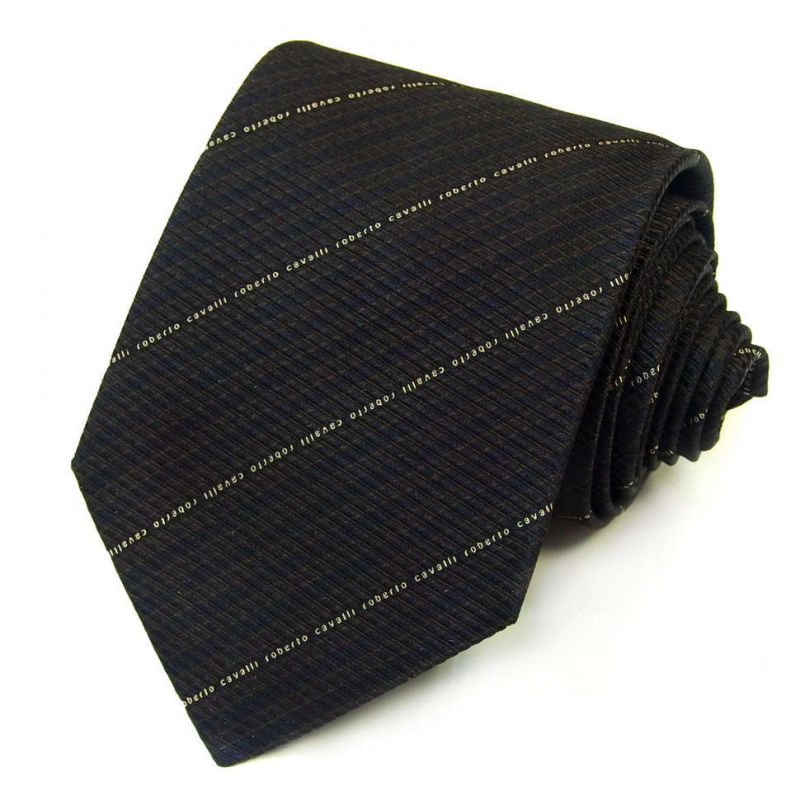 Чёрно-коричневый галстук Roberto Cavalli фактурная выделка