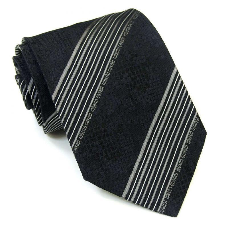 Чёрный питоновый галстук Roberto Cavalli в полоску