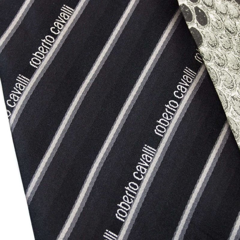 Чёрный галстук с логотипами Roberto Cavalli в полоску