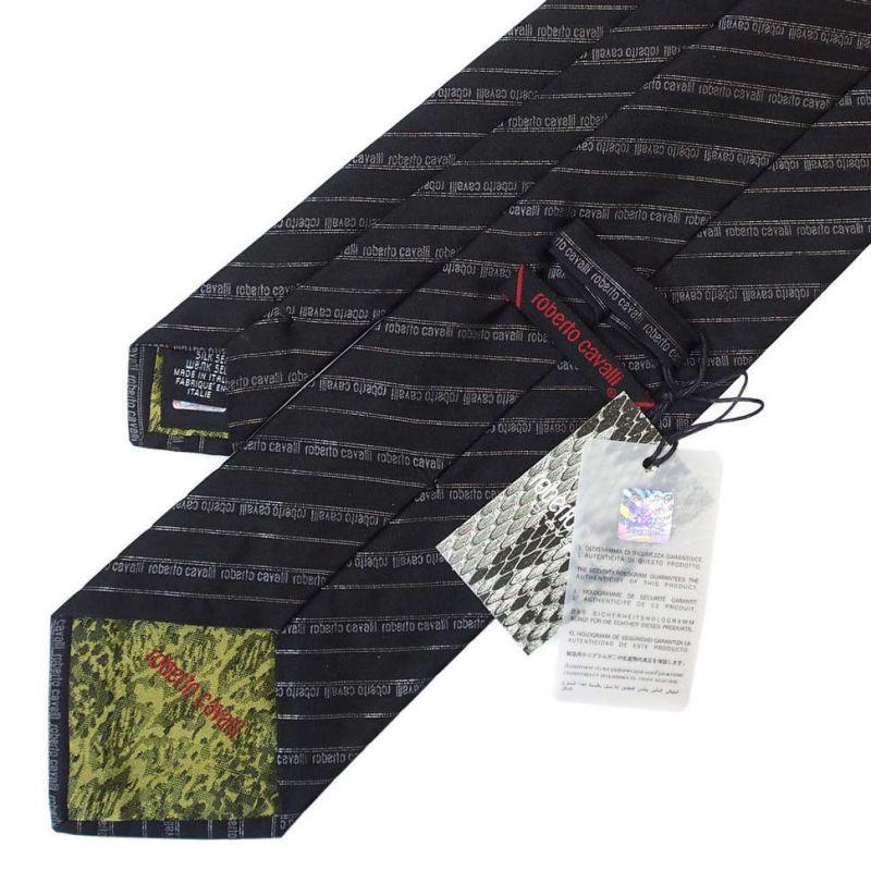 Тёмный галстук с надписями Roberto Cavalli