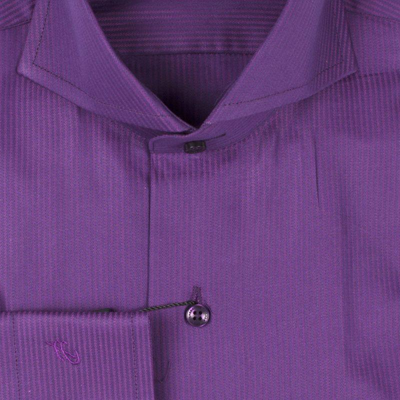 Рубашка фиолетовая однотонная в полоску приталенная