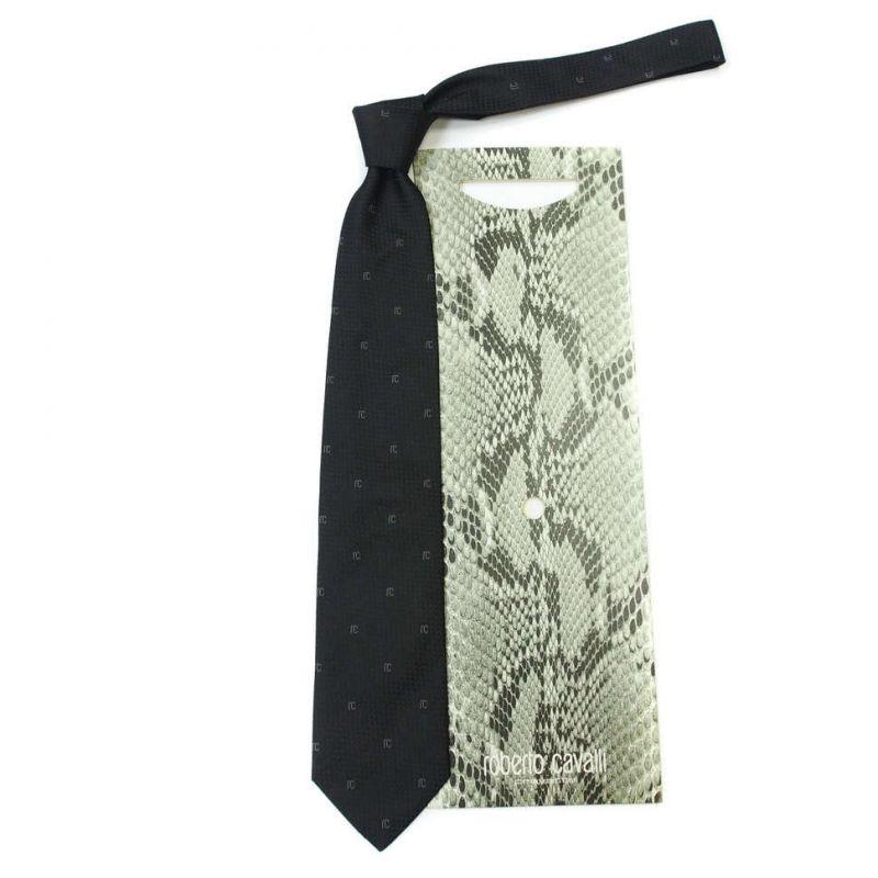 Чёрный фактурный галстук с лого Roberto Cavalli