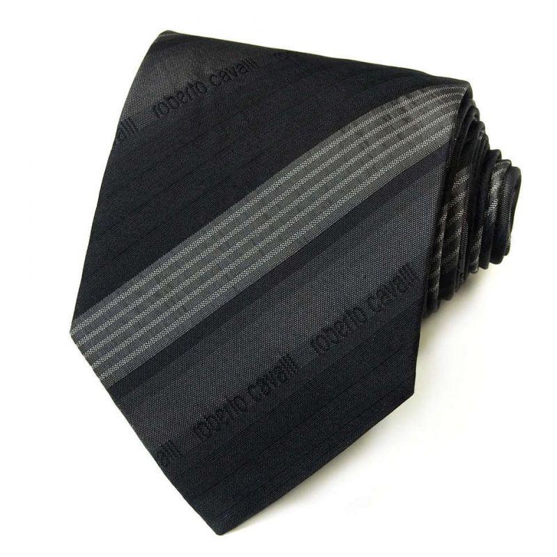 Серый галстук Roberto Cavalli с полосами разной фактуры