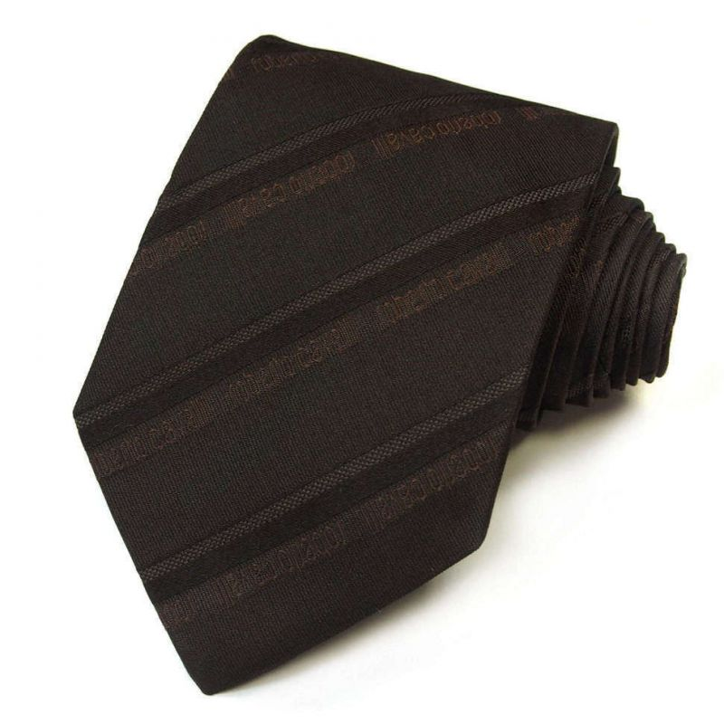 Коричневый фактурный галстук Roberto Cavalli в полоску