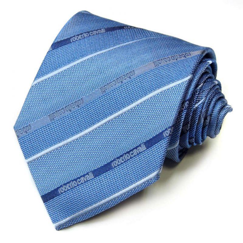 Голубой фактурный галстук Roberto Cavalli в полоску