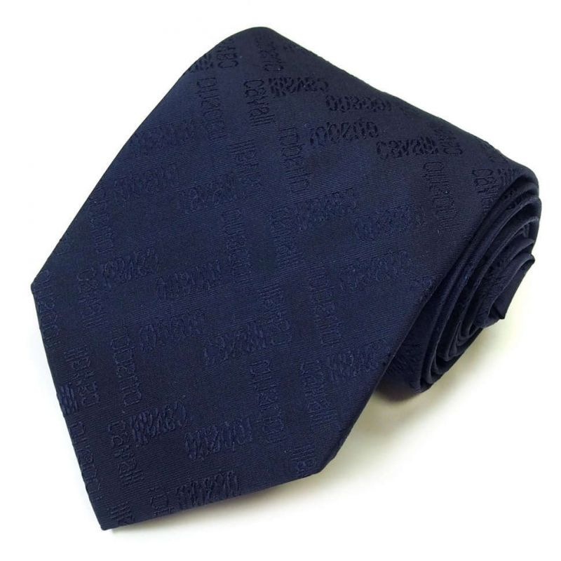 Тёмно-синий галстук с логотипами Roberto Cavalli