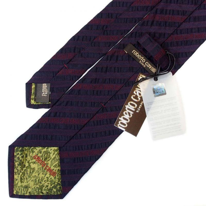 Бордовый галстук с логотипами Roberto Cavalli с лентами