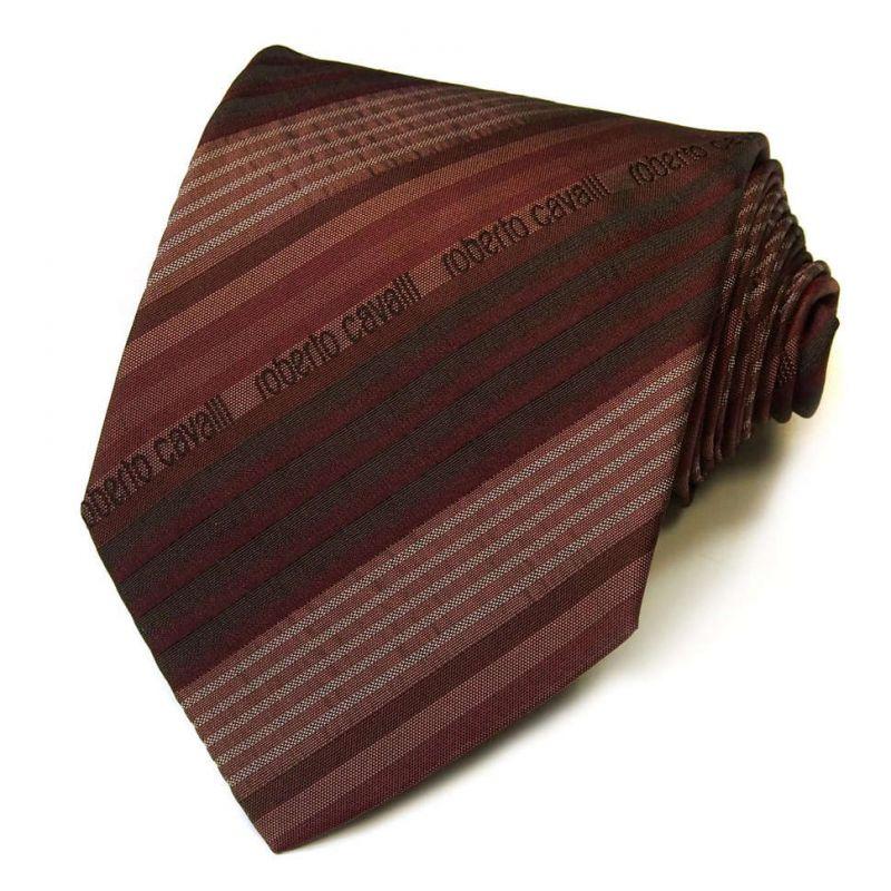 Бордовый галстук с логотипами Roberto Cavalli в полоску