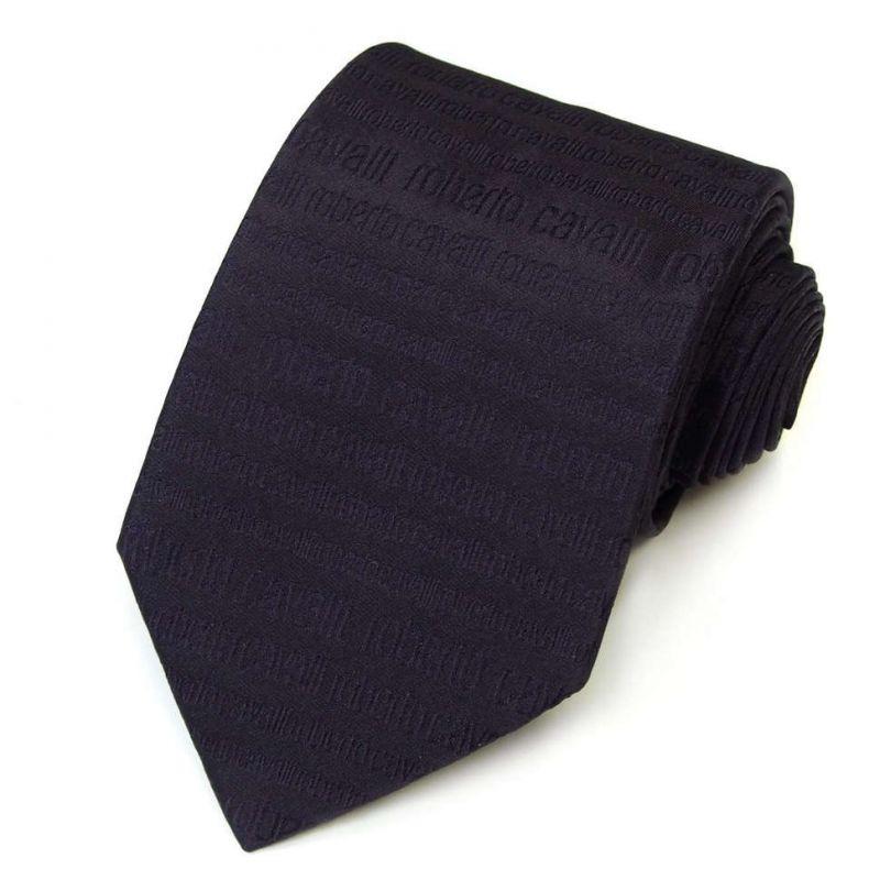 Баклажановый галстук с надписями Roberto Cavalli
