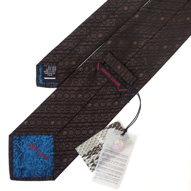 Коричневый галстук Roberto Cavalli с узором