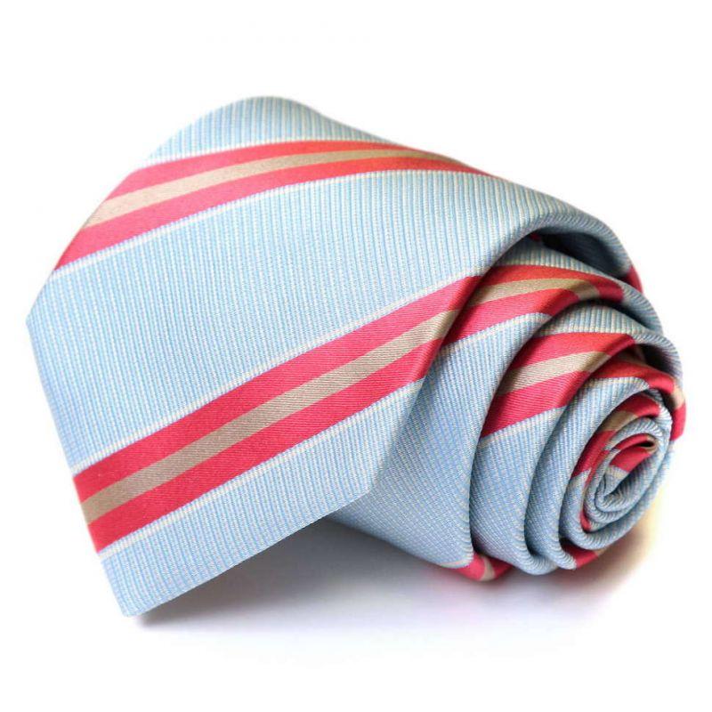 Голубой галстук Viktor Rolf в красную полоску