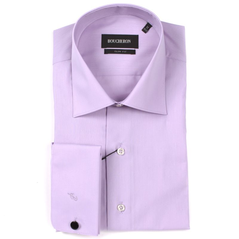 Рубашка розовая однотонная под запонки приталенная