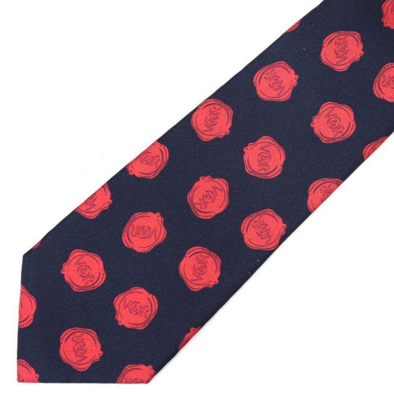 Синий галстук с красными логотипами Viktor Rolf