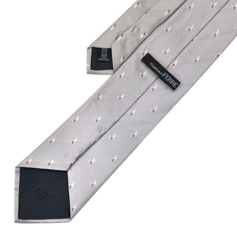 Серый галстук с логотипами Gianfranco Ferre