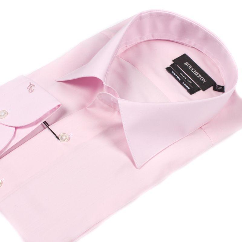 Рубашка розовая однотонная приталенная на высокий рост