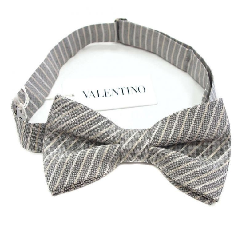 Серо-бежевая бабочка Valentino в полоску